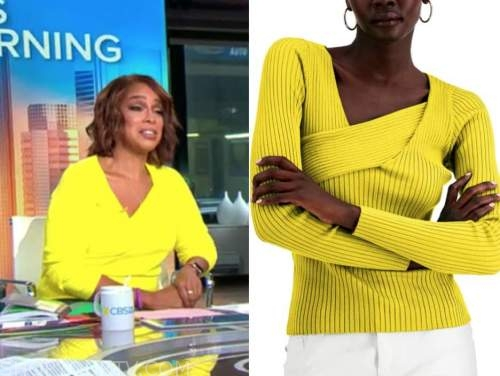 gayle king, cbs this morning, yellow asymmetric neck knit top