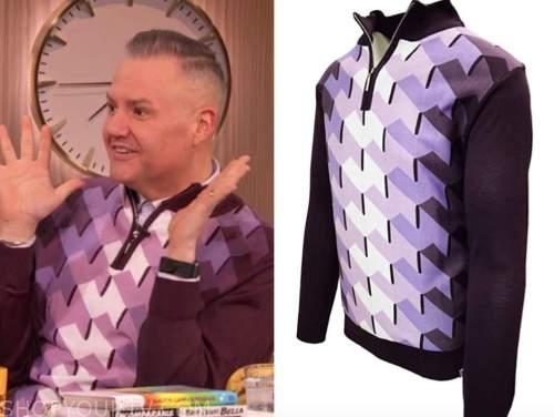 ross mathews, purple geometric sweater, drew barrymore show