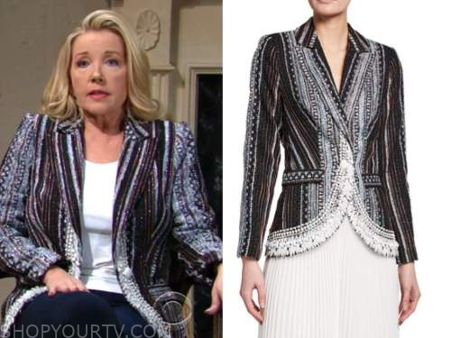 nikki newman, melody thomas scott, the young and the restless, embellished tweed blazer