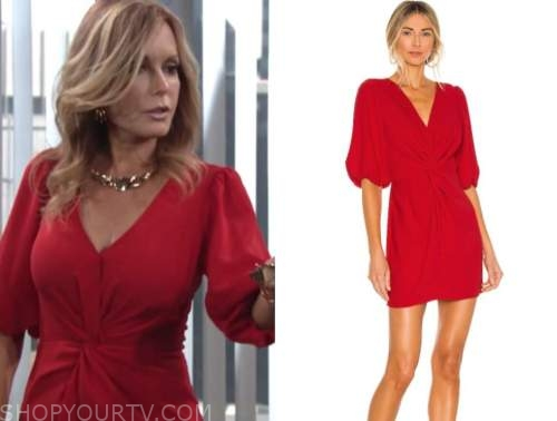 lauren fenmore baldwin, the young and the restless, tracey bregman, red knot twist dress