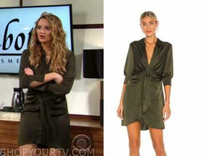 summer newman, hunter king, the young and the restless, olive green satin tie waist dress