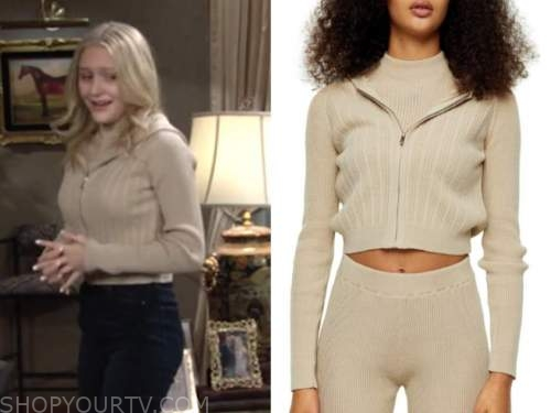 faith newman, alyvia alyn lind, beige ribbed knit hoodie, the young and the restless
