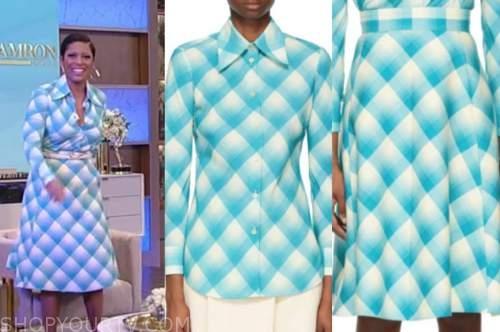 tamron hall, tamron hall show, blue check shirt and skirt