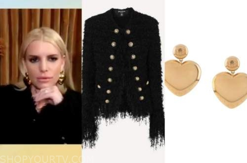 jessica simpson, tamron hall show, black tweed jacket, gold heart earrings