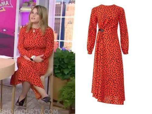 the today show, jenna bush hager, red and black dot midi dress