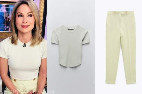 amy robach, good morning america, mint green top and pants
