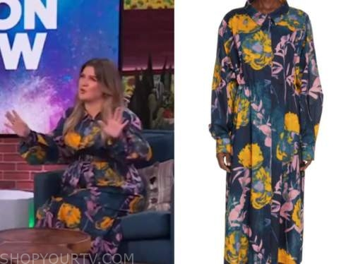 kelly clarkson, blue floral shirtdress, the kelly clarkson show