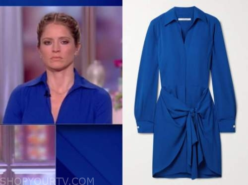 sara haines, the view, blue tie waist shirt dress