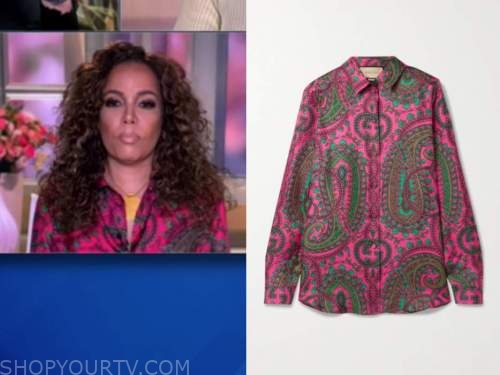sunny hostin, the view, pink paisley shirt