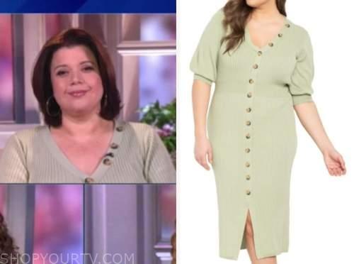 ana navarro, the view, sage green button knit dress