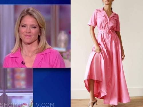 sara haines, the view, hot pink maxi shirt dress