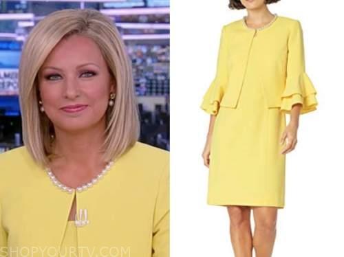 sandra smith, america reports, yellow pearl trim suit dress