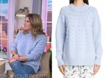 jenna bush hager, the today show, blue pom sweater