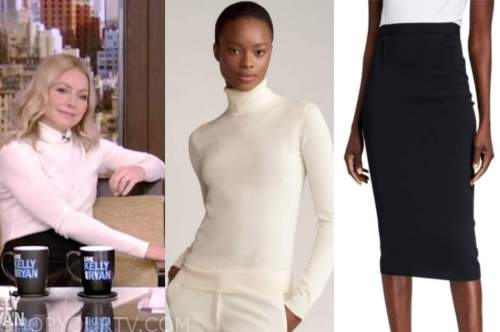 kelly ripa, white turtleneck, black skirt, live with kelly and ryan