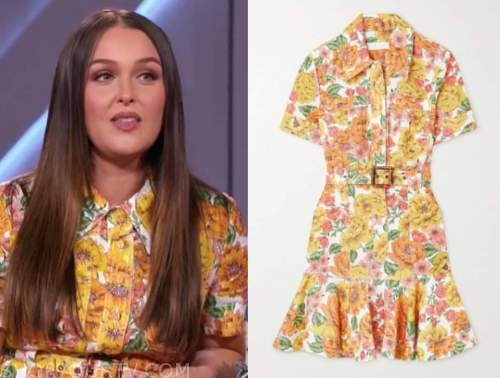 camilla luddington, yellow floral shirt dress, the kelly clarkson show
