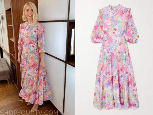 holly willoughby, this morning, pink floral midi dress