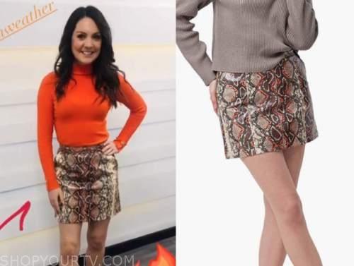 laura tobin, good morning britain, snakeskin mini skirt