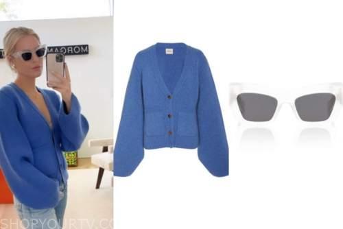 morgan stewart, blue cardigan, clear cat eye sunglasses, fashion, instagram