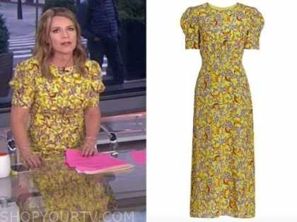 the today show, savannah guthrie, yellow floral midi dress