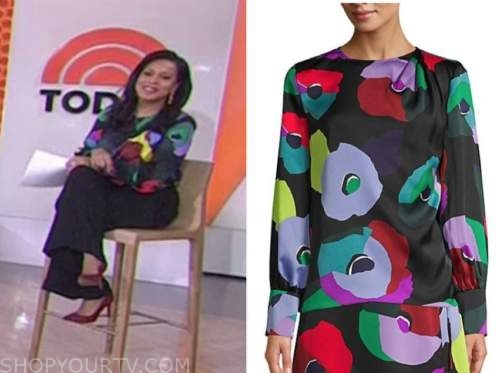 sheinelle jones, the today show, black floral multicolor blouse