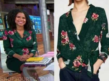 adriana diaz, cbs this morning, green floral wrap blouse