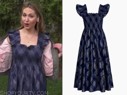 lori bergamotto, good morning america, nap dress, navy blue metallic check midi dress
