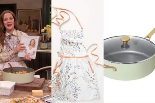 drew barrymore, drew barrymore show, apron, green cookware