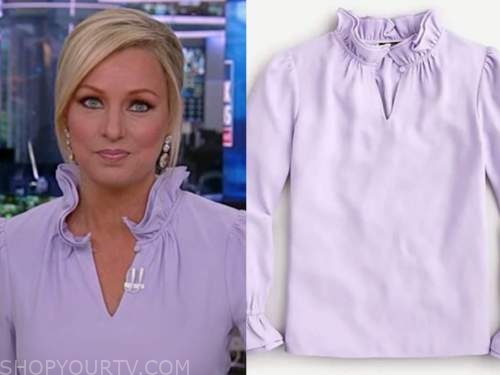 america reports, sandra smith, lilac purple ruffle collar blouse