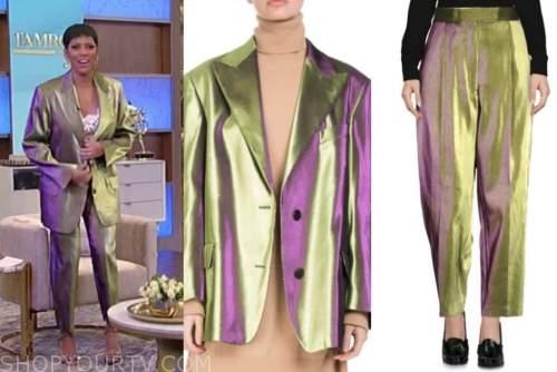 tamron hall, tamron hall show, gold green metallic blazer and pant suit