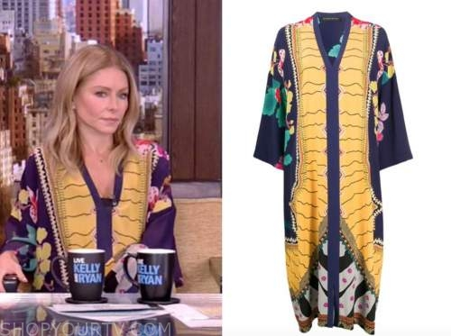 kelly ripa, live with kelly and ryan, yellow and blue floral kaftan dress