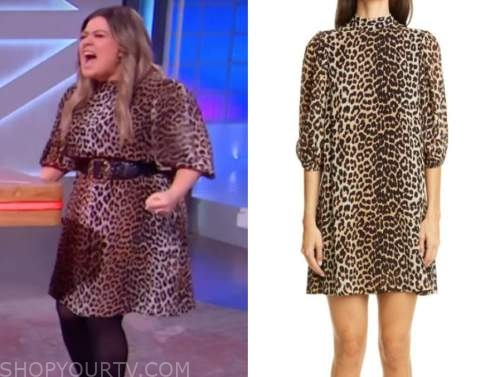 kelly clarkson, the kelly clarkson show, leopard mock neck shift dress