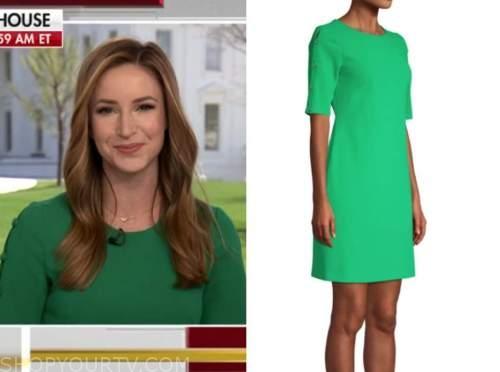 kristin fisher, green button sleeve sheath dress, the faulkner focus