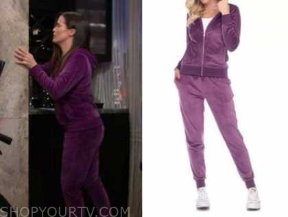 chelsea newman, melissa claire egan, the young and the restless, purple velour tracksuit
