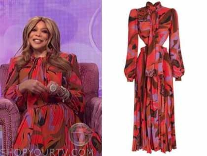wendy williams, the wendy williams show, red abstract printed dress