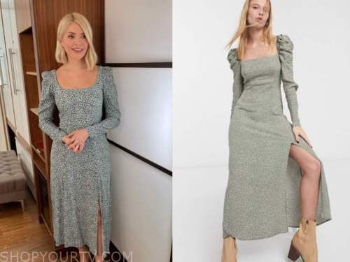 holly willoughby, this morning, green dot square neck dress