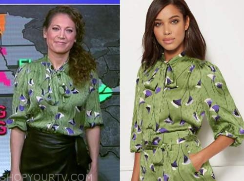 ginger zee, good morning america, green and purple floral tie neck blouse