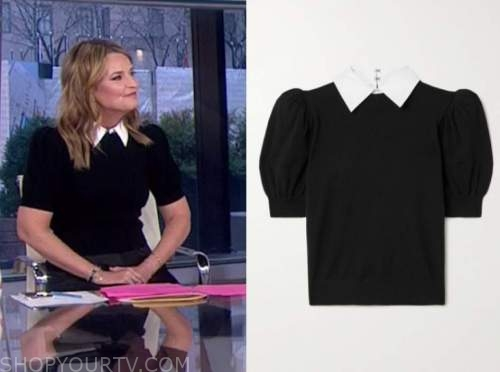 savannah guthrie, the today show, black and white short sleeve collar sweater