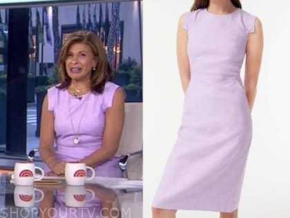 the today show, hoda kotb, lilac purple sheath dress