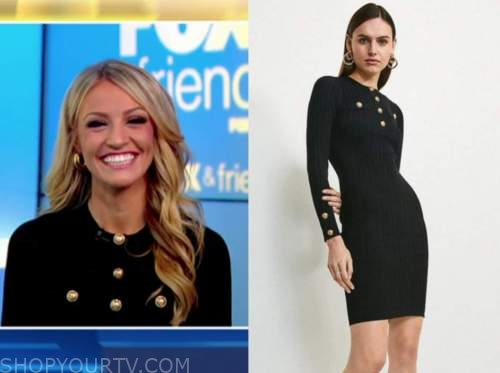 carley shimkus, fox and friends, black knit gold button dress
