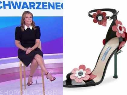 savannah guthrie, the today show, black and pink floral sandals