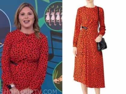 jenna bush hager, the today show, red and black dot midi dress