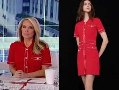 dana perino, america's newsroom, red knit pearl button dress