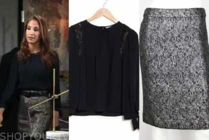 christel khalil, the young and the restless, navy blue lace top, metallic lace skirt