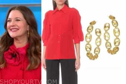 drew barrymore, cbs this morning, red blouse, gold hoop earrings