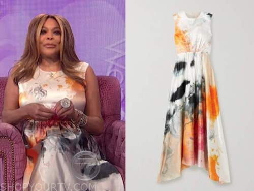 wendy williams, the wendy williams show, tie dye abstract silk midi dress