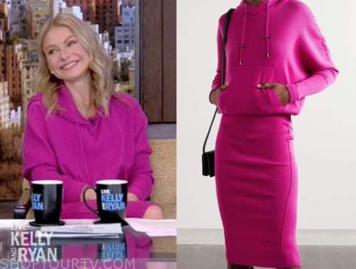 kelly ripa, live with kelly and ryan, hot pink hooded sweater dress