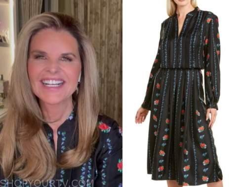 maria shriver, the today show, black floral shirt dress