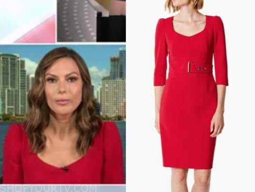 lisa boothe, outnumbered, red belted dress