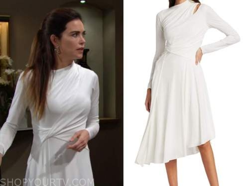 the young and the restless, amelia heinle, victoria newman, white asymmetric twist dress