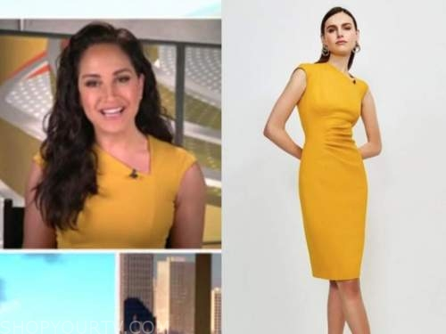 emily compagno, yellow asymmetric neck sheath dress, outnumbered